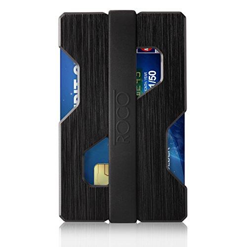 ROCO MINIMALIST Aluminum Slim Wallet RFID BLOCKING Money Clip - Futuristic Design (Black)