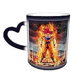 Tazza in ceramica per caffè Super Saiyan Goku Magic Funny Art Coffee Mugs con immagine rivelata quando viene aggiunto il liquido caldo blu