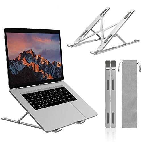 Supporto PC Portatile Alluminio 7 Livelli Regolabile Porta Notebook, Raffreddamento Pieghevole Supporto Laptop Compatibile con MacBook Air PRO, iPad, HP, Lenovo, Dell Computer Portatili e Tablet