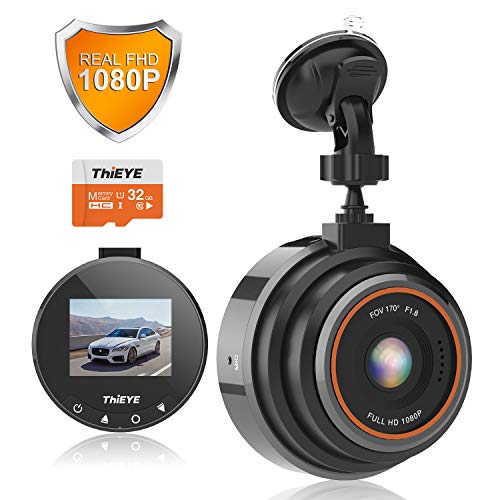 Dash Cam per Auto ThiEYE Dashcam Telecamera FHD 1080P Grandangolare 170° Registrazione in Loop, Visione Notturna, G-Sensor, WDR Rilevamento del Movimento Sorveglianza del Parcheggio e Scheda SD 32 GB