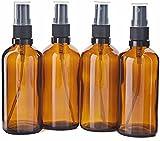 sets Botellas de Aerosol de Vidrio ámbar vacías de 4 Piezas de 100 ml con rociador de Niebla Fina para envases cosméticos de aromaterapia de Perfume de Aceite Esencial