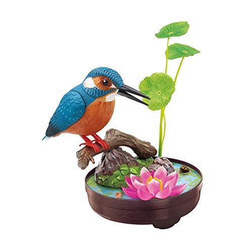 FYHappy Singende zwitschernde Simulation Vögel Spielzeug Dekor mit echten Vogelrufen Sound aktiviert für Kinder alternde Eltern, Home Office Desktop Dekorationen Ornamente, Eisvogel