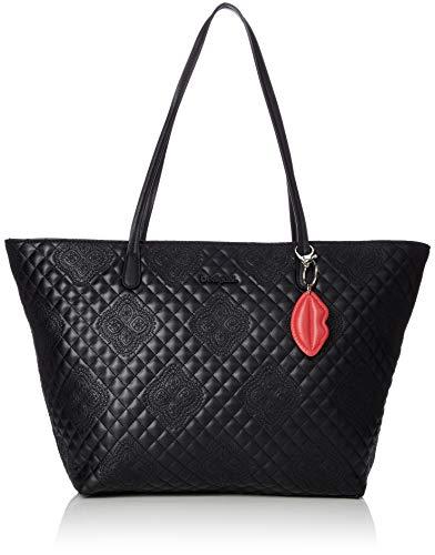 Desigual Damen Handtasche Tasche Shopper CLAUDIA CAPRI ZIPPER Schwarz 18WAXPEG