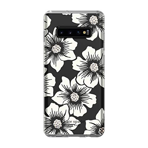 Kate Spade New York Phone Case | for Samsung Galaxy S10 Plus | Protective Clear Crystal Hardshell Phone Cases with Slim Design and Drop Protection - Hollyhock Floral Clear/Cream with Stones