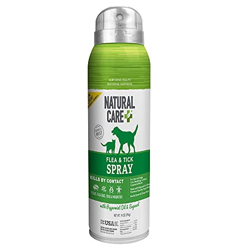 Natural Care Flea and Tick Spray for Dogs and Cats | Flea Treatment for Dogs and Cats | Flea Killer with Certified Natural Oils | 14 Ounces