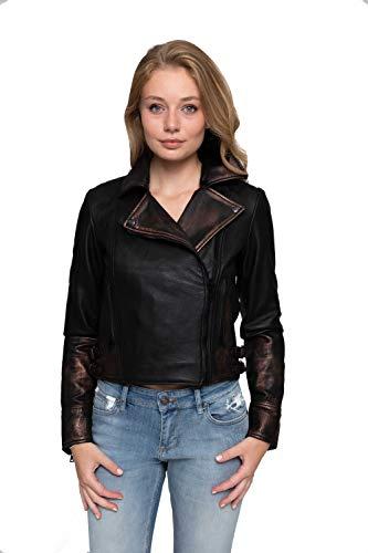 Zhrill Damen Lederjacke Bikerjacke Echtleder Slim Fit Maya Leder, Größe:L, Farbe:L9035 - Black