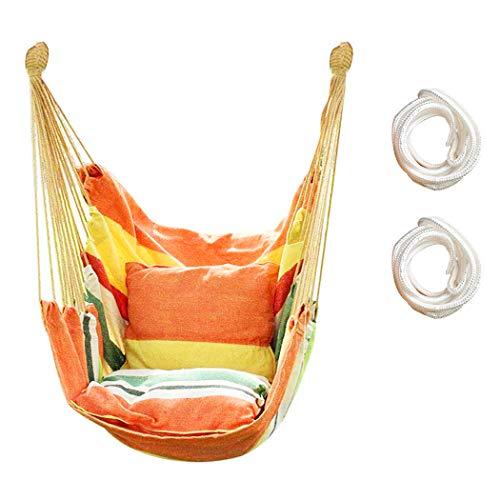 Hängesessel mit Seil zum Aufhängen, für drinnen und draußen, stabiles Baumwollgewebe, Hängematten-Schaukel, max. 136 kg, Hängemattenstuhl für Schlafzimmer, Terrasse, Veranda (Orange)