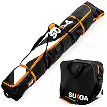 Ski Bag and Ski Boot Bag Combo for Air Travel Unpadded - Ski Luggage Bags for Snow Travel Gear - Ski Case for Cross Country Downhill Boots Helmet Poles Clothes and Accessories