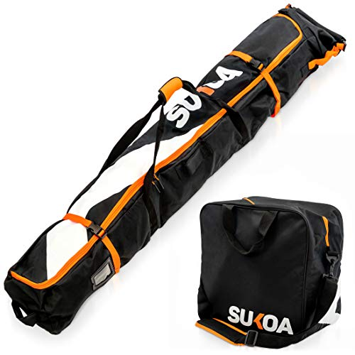 Ski Bag and Ski Boot Bag Combo for Air Travel Unpadded - Ski Luggage Bags for Snow Travel Gear - Ski Case for Cross Country, Downhill, Boots, Helmet, Poles, Clothes and Accessories