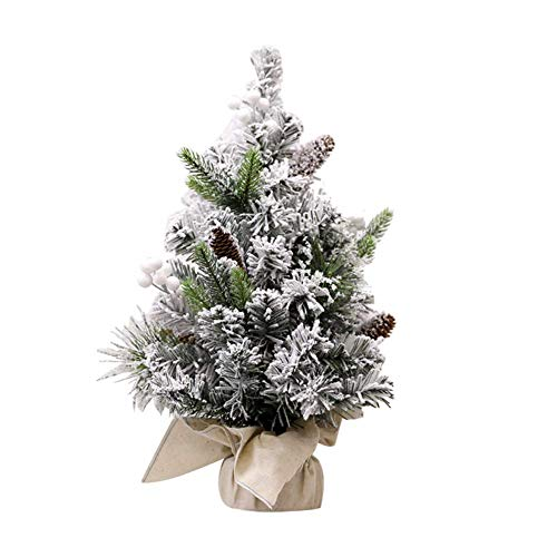 GCP Mini non-lighted table flocked Christmas tree, PVC snow effect fireproof artificial Christmas tree with burlap base for home dining decor-d: 25cmxh: 40cm (9.8''x15.7 '')