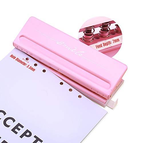 Aibecy 穴あけパンチ 調整可能な6穴卓上打抜き機、用に適していますA4 A5 A6 B7マネージャー6リングバインダー、6ページの容量