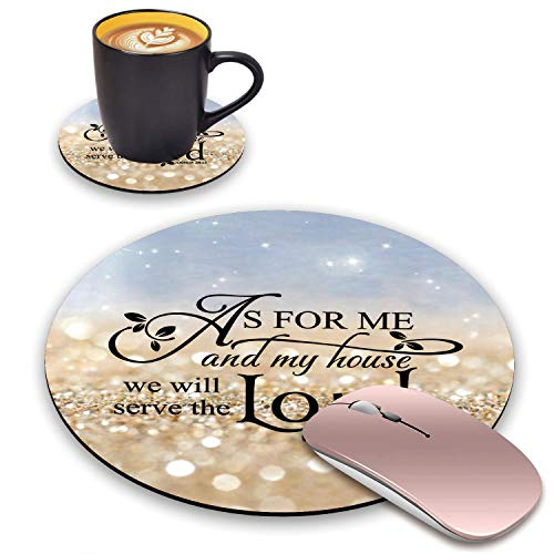 BWOOLL Round Mouse Pad and Coasters Set, Rainbow Glitter Mouse Pad, Quote Christian Bible Verses Joshua 24:15 Mouse Pad, Non-Slip Rubber Base Mouse Pads for Laptop and Computer