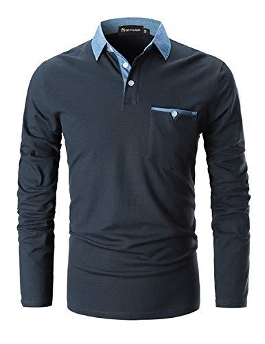 GHYUGR Poloshirts Herren Basic Langarm Baumwolle Polohemd Denim Nähen Golf T-Shirt S-XXL,Blau 1,L