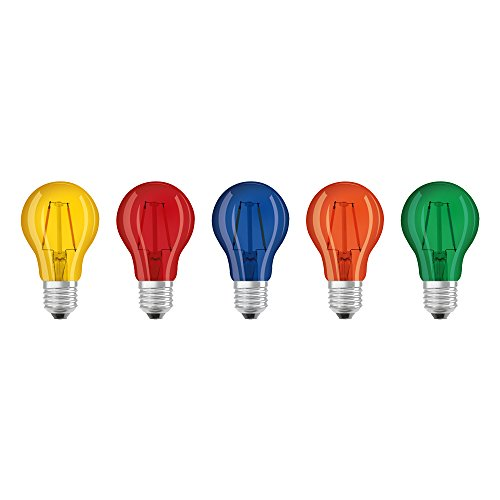 Osram LED Star Classic A Décor Color Box, in Kolbenform mit E27-Sockel, Dekoratives Licht und Design, Ersetzt 15 - Watt, 5er-Pack