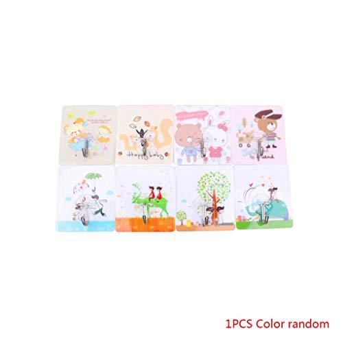 Qinghengyong Random Color Printing Adhesive Tuch-Aufhänger Familie Robe Hüte Küchen Tasche Aufhänger Ausgangswandhaken Tasche Key Adhesive Wandhaken Küche Badezimmer