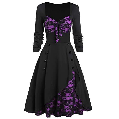 Xisimei Vestido de mujer renacentista Carmen de encaje con mangas de trompeta, vestido medieval, vestido de princesa victoriana, vestido de fiesta, Halloween, tallas grandes, morado, XXXXXL