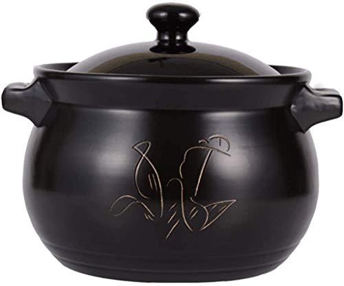Casseruole Pot Piatti Claypot Riso Pot Per Fiamma Aperto, Stufato di Ceramica Resistente al Calore, Domestico Gas Zuppa, Per Stufato/Caldaia/Bollitore/Brasato (Colore: Nero, Dimensioni: 8L)