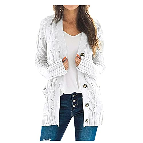 Burband Womens Cozy Cardigan Sweaters Button Down Open Front Loose Chunky Cable Knitted Maxi Coats Outwears with Pockets