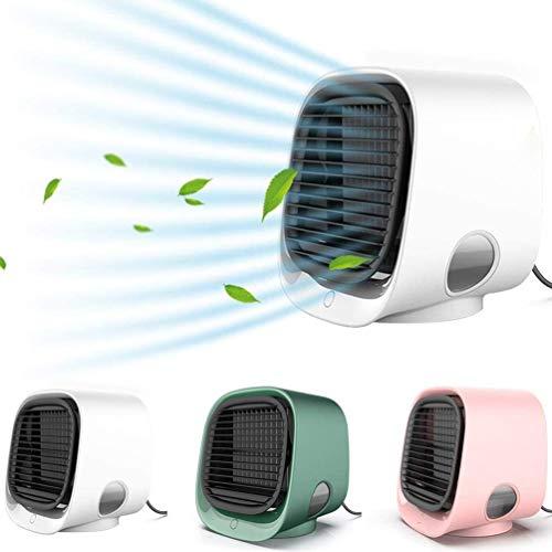 4 en 1 ventilador de iones negativos portátil, con función de luz de noche acondicionador de aire de carga USB de 3 velocidades, para el hogar, escritorio, oficina, al aire libre, verano,Blanco