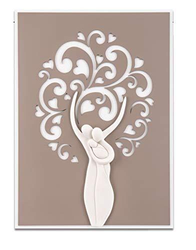 MEMORY SRL Quadro capezzale Moderno per Camera da Letto Albero della Vita Sacra Famiglia Tortora Bianco Alta qualità