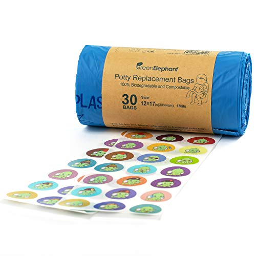 Green Elephant Portable Potty Liners - Mess-Free, Waterproof, Odor Blocking, Portable Travel Design - Zero Plastic/Chemicals - 30x Green Travel Potty For Toddler Bags Roll, Stickers