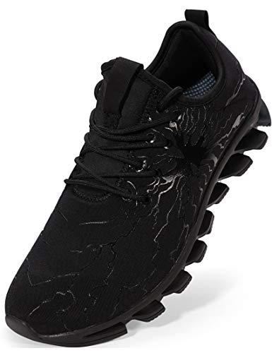 BRONAX Chaussures de Sport pour Hommes Basket à Lacets Respirant Mode Sneaker Loisirs Shoe Course en Plein Bas-Top Confortable Gymnastique Garçons ,Tout Noir,45 EU