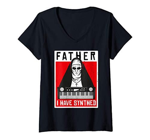Damen Nonne Gott Synthesizer Synth Analog Keyboard Techno Jesus T-Shirt mit V-Ausschnitt