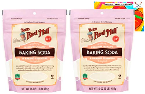 Bobs Red Mill Baking Soda Bundle with Carefree Caribou Recipe Card. Bundle Includes Two (2) Bobs Red Mill 16oz Resealable Baking Sodas and One (1) Baking Soda Recipe Card from Carefree Caribou.