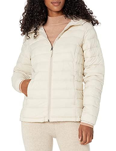 Amazon Essentials Women's Lightweight Long-Sleeve Full-Zip Water-Resistant Packable Hooded Puffer Jacket, Pumice, Medium