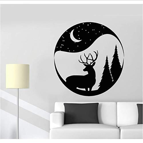 Vinyl wandlamp Kerstmis hert sneeuwbol bos dier maan zelfklevend Kerstmis Nieuwjaar huis woonkamer decoratie 57 x 60 cm