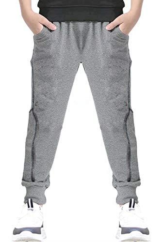 Welity Boys Sweatpants Elastic Drawstring Slim Fit Track Pants, Grey, Age 4T-5T (4-5 Years)=Tag 120