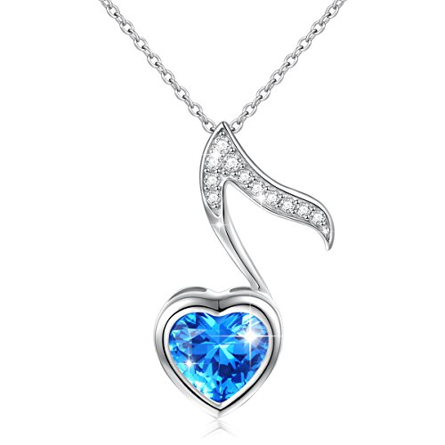 """Musical Jewelry 925 Sterling Silver Blue Cubic Zirconia Quaver Music Note Heart Pendant Necklace for Women Girls, Rolo Chain 18"""""""
