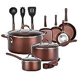NutriChef 14-Piece Nonstick Cookware PTFE/PFOA/PFOS-Free Heat Resistant Lacquer Kitchen Ware Set w/Saucepan, Frying Pans, Cooking, Dutch Oven Pot, Lids, Utensil NCCW14S, AGold