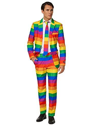 Suitmeister Herren Men Suit Business-Anzug Hosen-Set,Rainbow,XXL