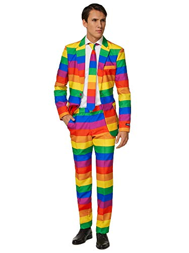 Suitmeister Herren Men Suit Business-Anzug Hosen-Set,Rainbow,XL