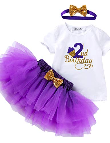 3Pcs Outfit Set Baby Girls Two Year Old Birthday Lace Tutu Shirt Skirt with Headband (Purple 2nd, 2T)