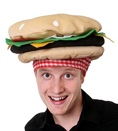 I LOVE FANCY DRESS LTD Burger Hut AUSGEFALLENE Kleid ZUBEHÖR Hut NEUHEIT Lebensmittel Kopfbedeckungen Cheeseburger