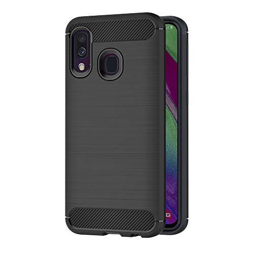 AICEK Funda Compatible Samsung Galaxy A40, Negro Silicona Fundas para Samsung A40 Carcasa Galaxy A40 Fibra de Carbono Funda Case (5,9 Pulgadas)