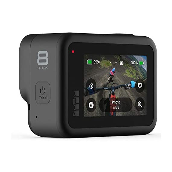 Gopro hero8 black, waterproof digital sports and action camera with touch screen 4k uhd video 12mp photos, power bundle… 4 kit includes: gopro hero 8 black camera (chdhx-801) | rechargeable battery (1220mah) | curved adhesive mount | mounting buckle | usb-c cable | thumb screw| gopro dual battery charger (gpajdbd001) | 3x gopro rechargeable battery (gpajbat001) | sandisk 128gb extreme uhs-i class 10 v30 u3 microsdxc memory card, sd adapter | prooptic complete optics care and cleaning kit key features: 4k60 video + 12mp photos | hypersmooth 2. 0 video stabilization | timewarp 2. 0 time-lapse video | night time-lapse video | 1080p live streaming | superphoto + improved hdr | foldable mount fingers | liveburst image capture | digital lenses (superview, wide, linear, narrow) | rugged + waterproof 33ft (10m) | 8x slo-mo video | 2-inch intuitive touch screen | face, smile + scene detection | 3 built-in mics with reduced wind noise | usb-c charging | wi-fi + bluetooth enabled warranty: gopro authorized reseller. Includes a limited gopro 1 year usa warranty.