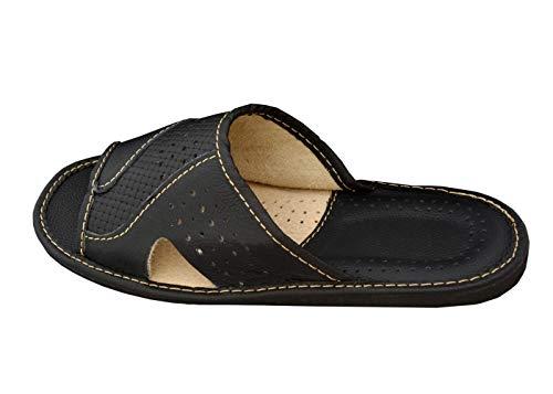 BeComfy Zapatillas de casa para Hombres 100% Cuero genuino punta abierta | Ligera y suave...