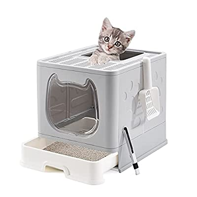 Suhaco Foldable Kitty Litter Box, Top Entry Cat Litter Box with Lid, Covered Kitten Litter Tray Including Cat Litter Scoop and 2-1 Cleaning Brush (Grey)