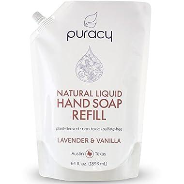 Puracy Natural Liquid Hand Soap Refill, Sulfate-Free Gel Hand Wash, Lavender & Vanilla, 64 Ounce