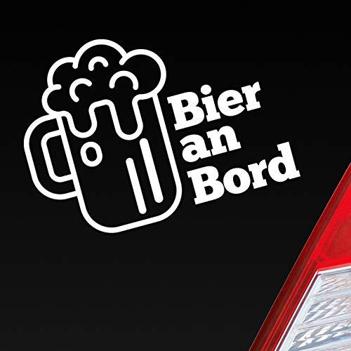 Auto Aufkleber in deiner Wunschfarbe Bier an Bord Beer Saufen Party feiern ca. 13 x 10 cm Autoaufkleber Sticker