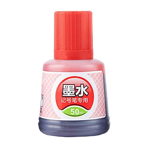 KERDEJAR 1 Botella de 50 ml de Tinta de Recarga para recargar tintas rotulador de Pizarra Blanca Negro Rojo Azul 3 Colores Material de Oficina Escolar Rojo