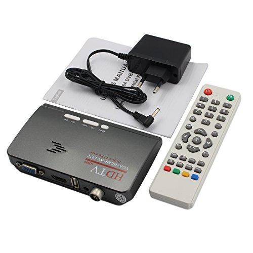 NoyoKere MTV Box Set Top Box Receptor de PC Sintonizador LCD Externo CRT VGA Sintonizador de TV HD 1080P Caja de TV Altavoz para Control de Juegos de Canales de HDTV