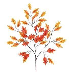 E+N Eichenzweig gelb/orange/rot, HxB: 60x28cm, drahtverstärkte Zweige, Textil/Kunststoff