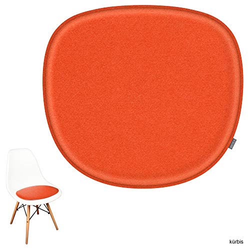 noe Eco Filz Sitzkissen geeignet für Vitra Eames Sidechair DSW,DSR,DSX,DSS - 29 Farben - optional gepolstert und mit Antirutsch! (kürbis)