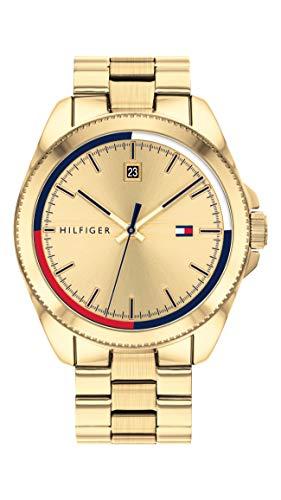 Tommy Hilfiger Relógio casual masculino de aço inoxidável e pulseira de quartzo, cor: ouro (modelo: 1791686)