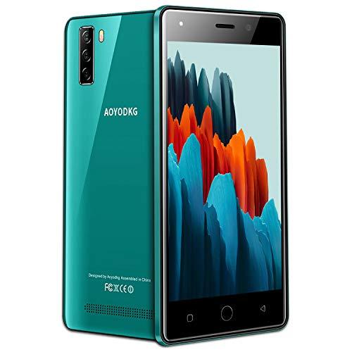 Moviles Libres Baratos 4G, 16GB ROM Android 9.0 5MP+8MP, 5.0 Pulgadas Smartphone Libre Dual SIM, 3400mAh Quad Core Face ID Moviles Baratos y Buenos (2 x Micro SIM +1 MicroSD) (Verde)