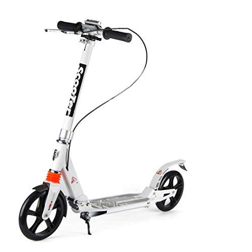 GTYMFH Scooter de pie Kick Scooters Plegables for Adultos/Adolescentes/niños, Ultra-portátil Ligero Vespa del Viajero con Ajustable Manillar no eléctricos, Scooter de Ciudad (Color : White)